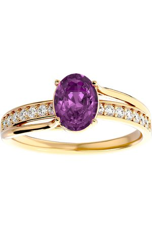 SuperJeweler 1 3/4 Carat Oval Shape Pink Topaz & 14 Diamond Ring in 14K (3.50 g)