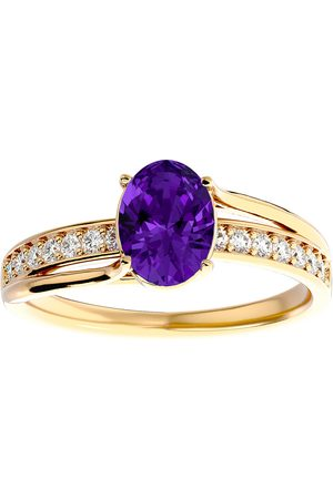 SuperJeweler 1.25 Carat Oval Shape Amethyst & 14 Diamond Ring in 14K (3.50 g)