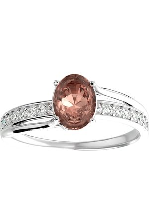 SuperJeweler 1 1/3 Carat Oval Shape Morganite & 14 Diamond Ring in 14K (3.50 g)