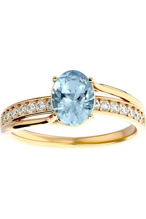SuperJeweler 1 1/3 Carat Oval Shape Aquamarine & 14 Diamond Ring in 14K (3.50 g)