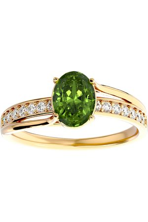 SuperJeweler Women Rings - 1.5 Carat Oval Shape Peridot & 14 Diamond Ring in 14K (3.50 g)