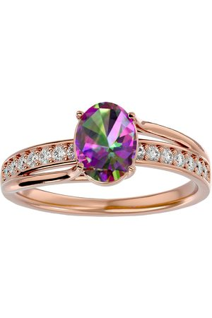 SuperJeweler 1.25 Carat Oval Shape Mystic Topaz & 14 Diamond Ring in 14K (3.50 g)