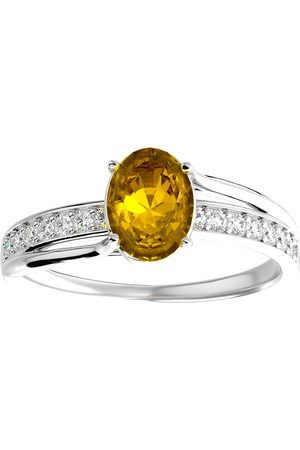 SuperJeweler 1.25 Carat Oval Shape Citrine & 14 Diamond Ring in 14K (3.50 g)