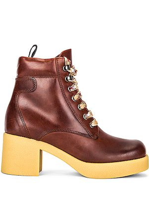 Miu Miu Women Ankle Boots - Platform Lace Up Ankle Boots in Cognac