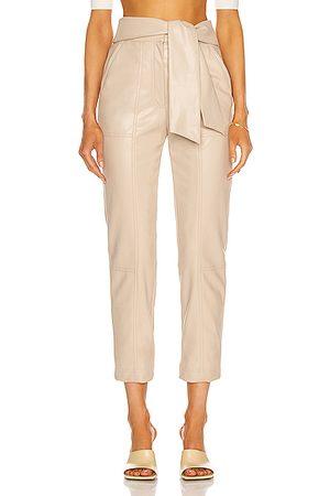 JONATHAN SIMKHAI Women Leather Pants - Vegan Leather Tessa Tie Waist Pant in Neutral