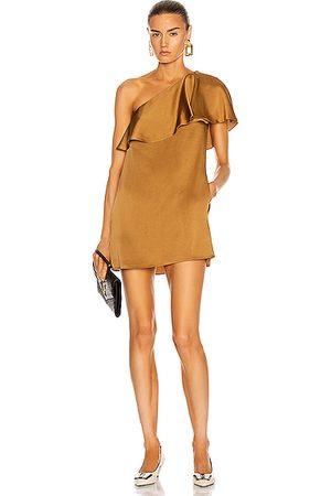 Saint Laurent One Shoulder Mini Dress in Orange