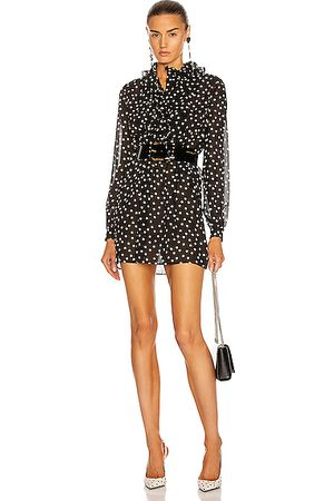 Saint Laurent Long Sleeve Polka Dot Mini Dress in