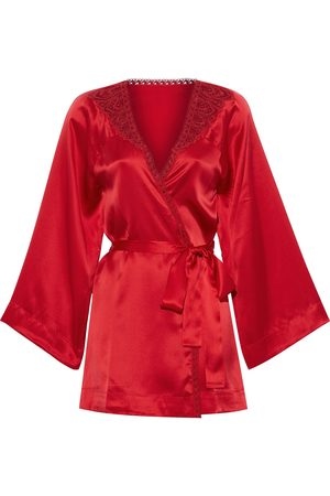 Simone Pérèle Women Kimonos - Simone Pérèle Woman Pensée Lace-trimmed Silk-blend Satin Kimono Size 1