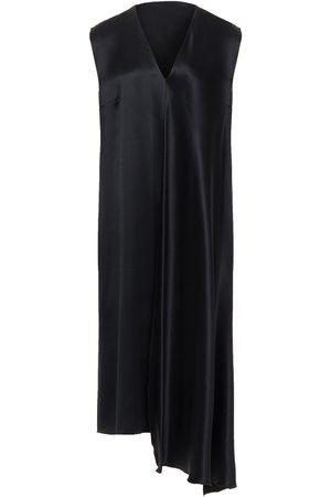 Joseph Women Asymmetrical Dresses - Woman Asymmetric Draped Silk-charmeuse Dress Size 36
