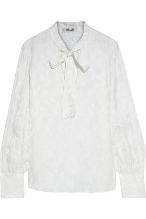 Diane von Furstenberg Woman Esperanza Pussy-bow Silk-blend Jacquard Blouse Ivory Size L