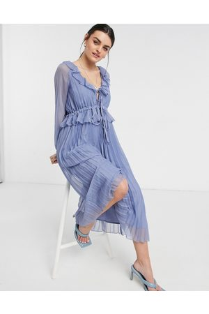 ASOS Soft pleated midi dress with drawstring waist and frills in dusty blue-Blues