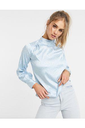 Closet Satin blouse in powder blue-Blues