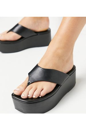 ASOS Wide Fit Watch toe thong flatforms in
