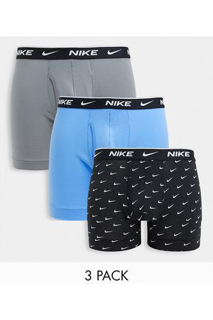 Nike 3 Pack Cotton Stretch boxer briefs with fly in black/gray/blue-Multi