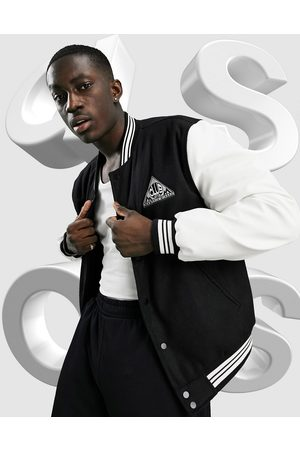 ASOS Varsity bomber jacket with faux-leather sleeves in and white