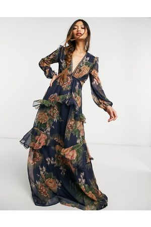 ASOS Maxi dress with long sleeve and circle trim in floral print and embellishment-Multi