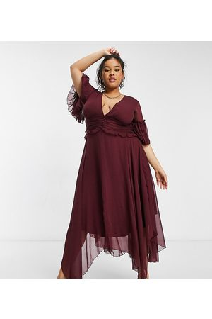 ASOS Curve flutter sleeve midi dress with pleated waist and button detail in berry