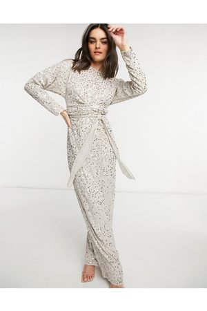 ASOS Batwing scatter embellished maxi dress in pale