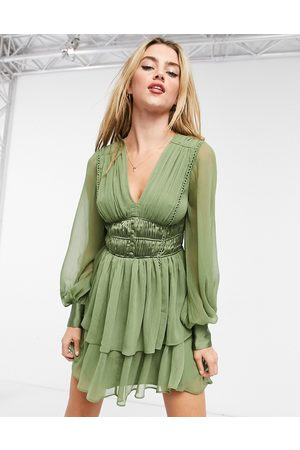 ASOS Button bodice mini dress with ruching detail and skirt slits In Khaki