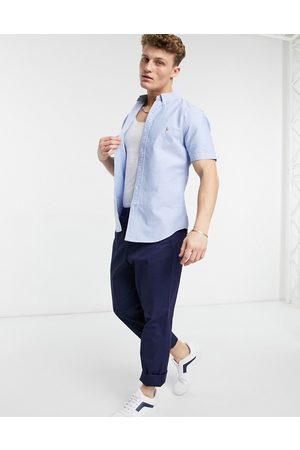 Polo Ralph Lauren Classic oxford player logo short sleeve shirt button down custom regular fit in blue-Blues