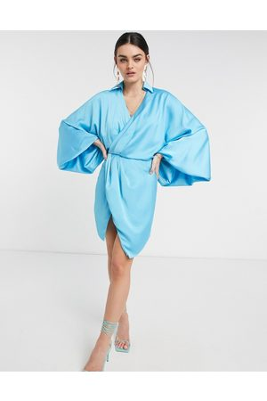ASOS Blouson sleeve satin shirt mini dress with open back in blue-Blues