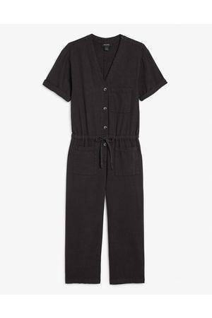 Monki Sanna short sleeve denim jumpsuit in