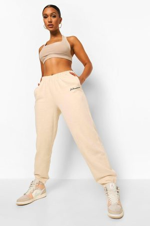 Boohoo Womens Oversized Embroidered Woman Script Joggers - - 2
