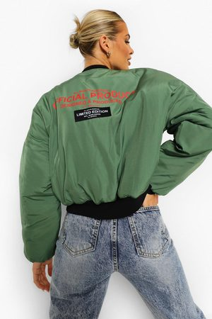 Boohoo Women Bomber Jackets - Womens Crop Printed Oversized Bomber Jacket - - 4