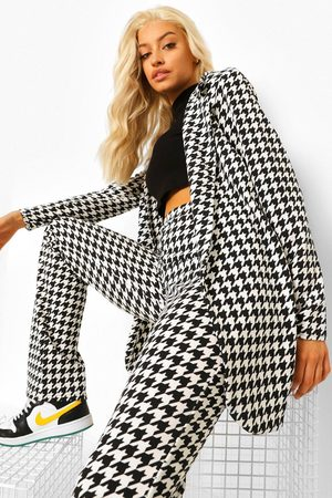 Boohoo Women Blazers - Womens Dogtooth Flannel Fitted Blazer - - 4