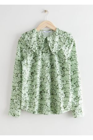 & OTHER STORIES Ruffled Collar Cotton Denim Shirt
