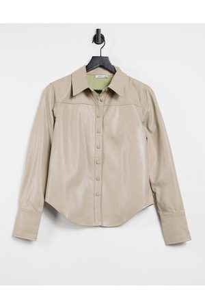 Steele Torri vegan-friendly leather button up shirt in tan