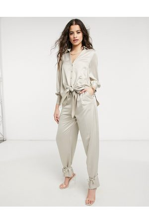 Style Cheat Cuffed tailored pants set in taupe