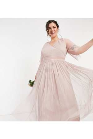 ANAYA Anaya With Love Plus Bridesmaid tulle flutter sleeve maxi dress in