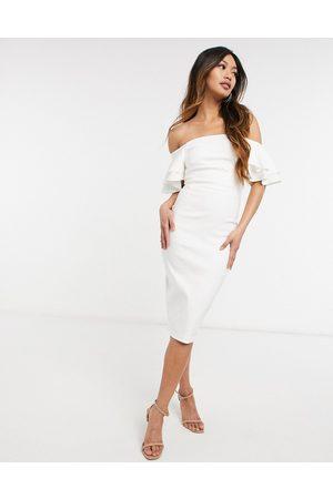 Vesper One shoulder body-conscious midi dress in ivory