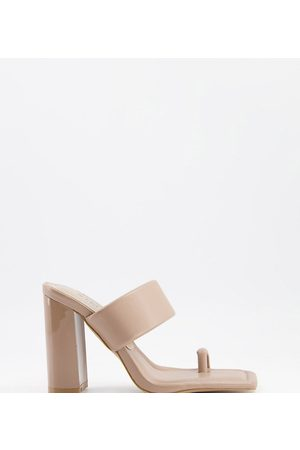 Simmi Wide Fit Simmi London Wide Fit Tour padded mules with toe loop in dark