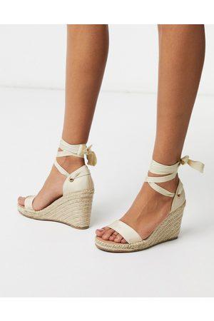 ASOS Treat tie leg espadrille wedge sandals in natural-Stone