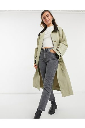 ASOS Oversized trench coat with corduroy collar in stone