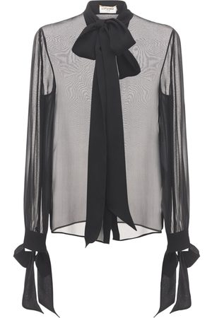 Saint Laurent Silk Crepe Muslin Shirt W/ Bow Collar
