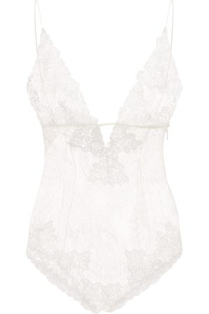 Saint Laurent Viscose & Lace V Neck Bodysuit