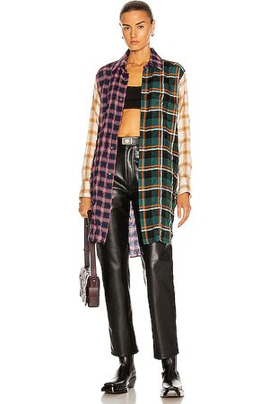 Loewe Check Long Shirt in Blue,Green,Neutral