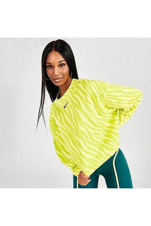 Nike Women Hoodies - Women's Sportswear Icon Clash Animal Print Crewneck Sweatshirt in /Light Zitron