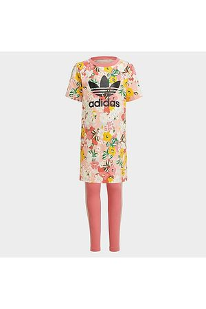 adidas Baby Knitted Dresses - Girls' Toddler and Little Kids' Originals HER Studio London Floral T-Shirt Dress and Leggings Set in /Trace Size Small Knit