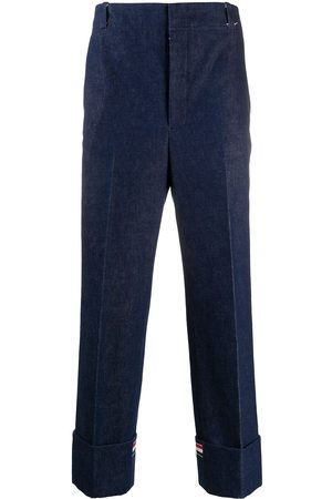 Thom Browne Men Formal Pants - Deconstructed washed denim tailored trousers