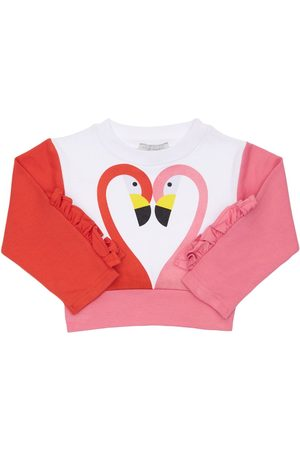 Stella McCartney Girls Sweatshirts - Flamingo Print Organic Cotton Sweatshirt