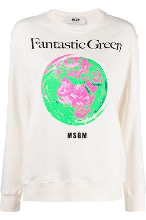 Msgm Fantastic Green cotton sweatshirt - Neutrals