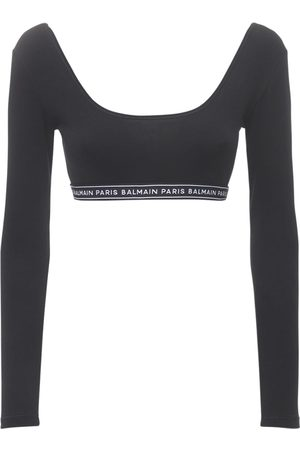 Balmain Logo Cotton Jersey Stretch Cropped Top