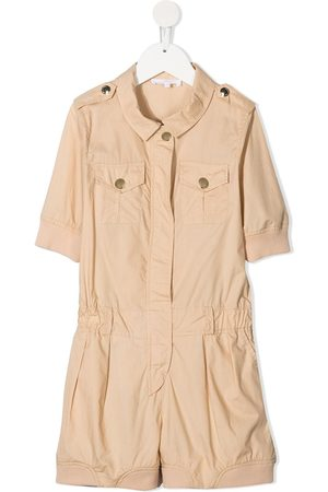 Chloé Short-sleeve cotton playsuit - Neutrals