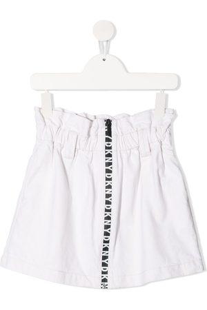 DKNY Logo-tape denim skirt - Neutrals