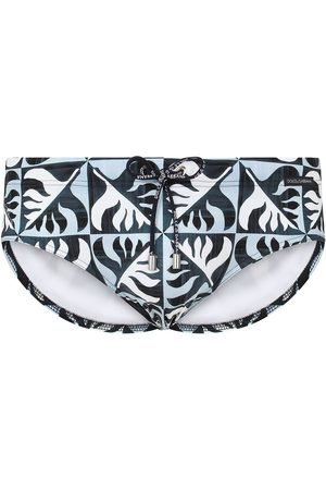 Dolce & Gabbana Geometric leaf print swimming trunks