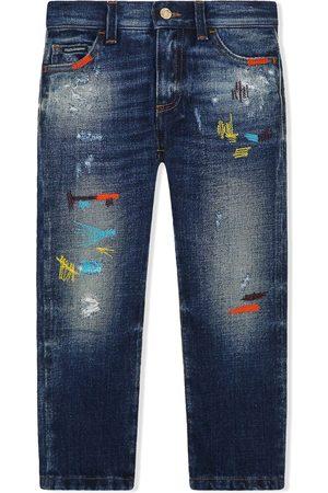 Dolce & Gabbana Contrast-stitch design denim jeans